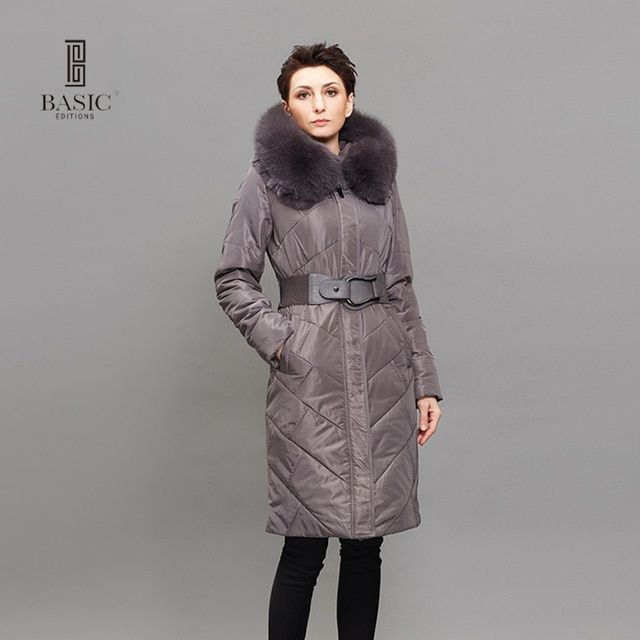 BASIC EDITIONS Women Winter Jackets Thinsulate Cotton Long Sleeve Fur Collar Parka Women Hat Long Belted Jacket  B-W13D-080