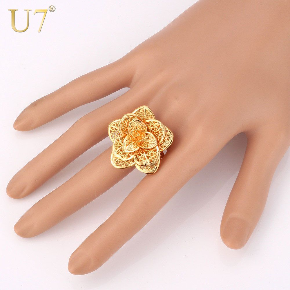 U7 Brand Big Flower Ring Gold Color Women Female Jewelry Wholesale Vintage Engagement Bands Ring Adjustable Gift R359