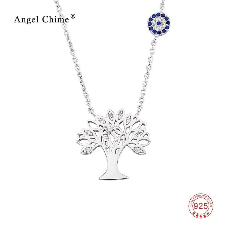 925 Sterling Silver Necklace Tree of Life Pattern Jewelry Cubic Zirconia Family Charming Pendant Statement Necklaces For Women