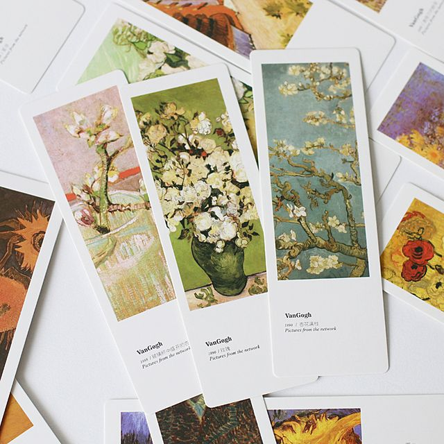 JIANWU 20pcs Van Gogh's Monet paper creative bookmark bookmark a small school gift card
