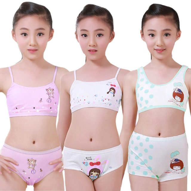 Puberty Young Girl Student Cosy Undies Children Clothing Set Teenagers Underwear Set Training Bras Camisole Vest & Panties Boxer