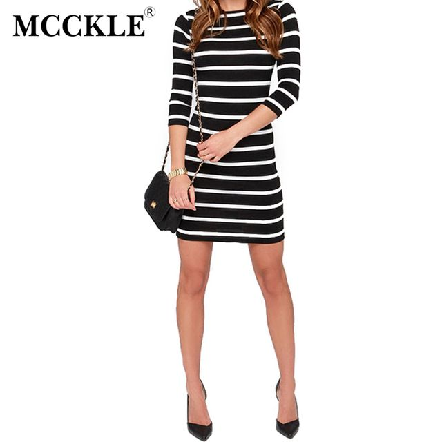 MCCKLE  Womans Fashion Dress Slimming Wrap Women's Casuals Clothing Dresses 2017 O-neck Mini Striped Bodycon Dress Fall