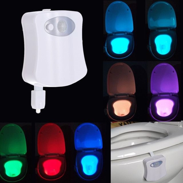 New 8 Colors Toilet Lamp Hanging Automatic Sensor Toilet Lid Lights Creative Gifts Hot LED Night Light