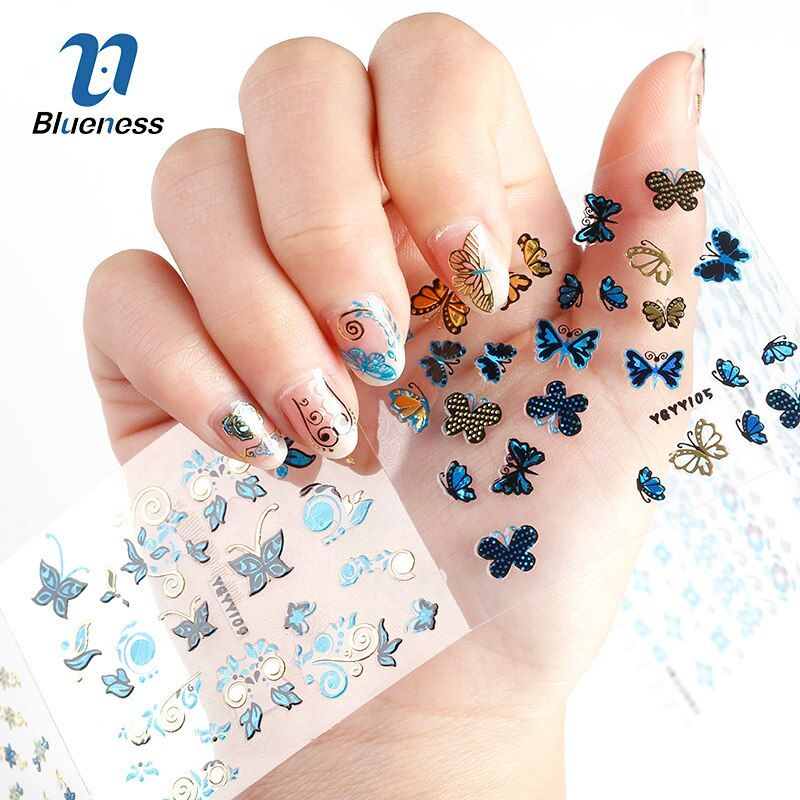24Pcs in 1 Large Size Sheet  Tree leaf Butterfly Animal Pattern  Stamping 3D Nail Sticker Charms Bronzing Nail Art Decal JH129