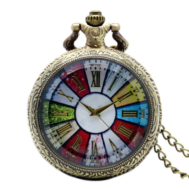Vintage Bronze Colorful Dial Rome Number Women Quartz Pocket Watch Necklace