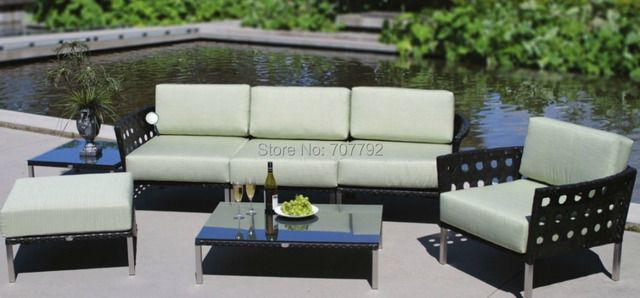 Best Sale Low Back Poly Rattan 4 Seater Patio Furniture Sofa Sectional