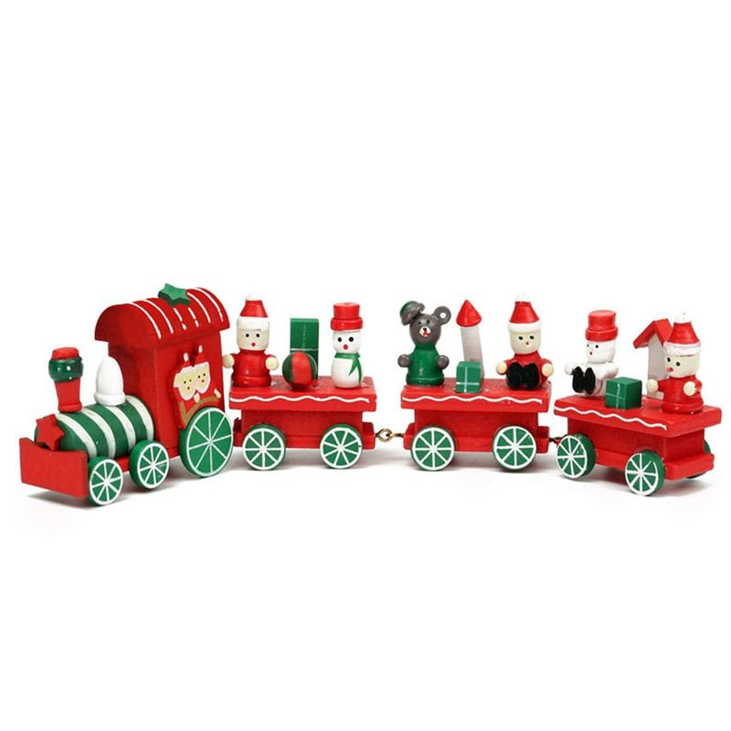 Wooden Christmas Xmas Train Toys Children Mini Christmas Train Model Toys Gift Vehicle Toys for Chidlren