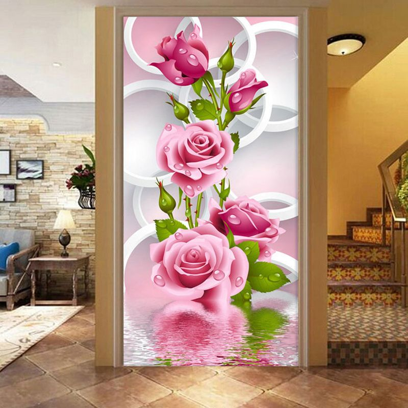 Needlework Diy Diamond Painting Cross Stitch Pink Rose Diamond Embroidery Flower Serie Vertical Print Rubik's Cube Drill Picture