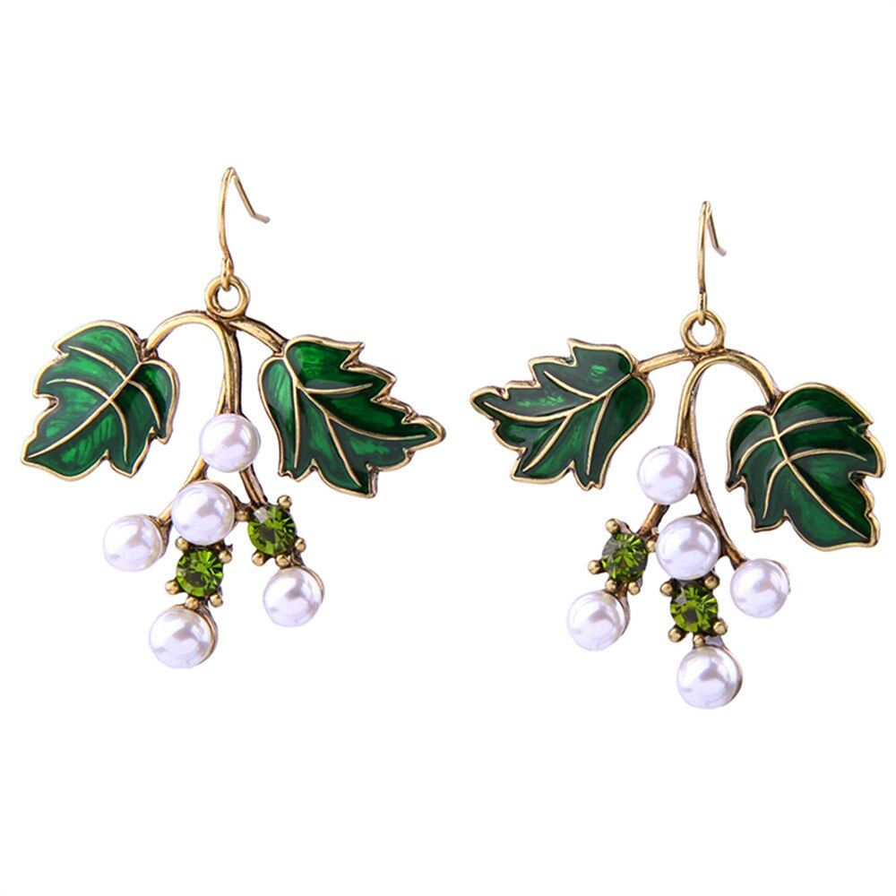 Black Green Leaves Dangling Earrings Enamel Simulated Beaded Jewelry Women Retro Accessories charms