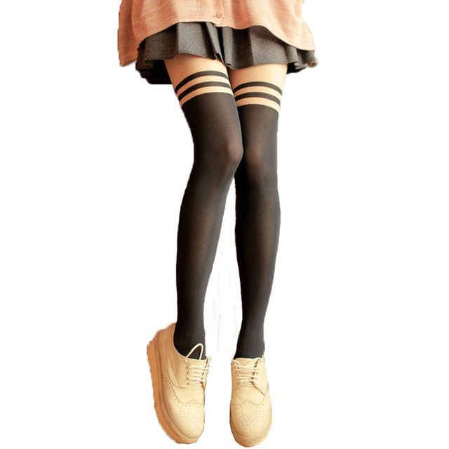 Harajuku silk strengthen  pantyhose black stockings heart Stripe patchwork thread  school girl tights tattoo