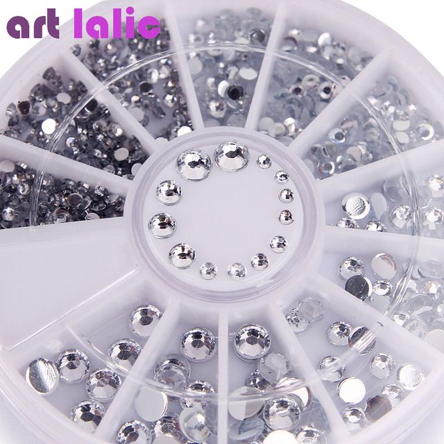400Pcs Nail Rhinestones Mixed Silver Round Diamond shapes 1.2mm/2mm/3mm/4mm 3D Nail Decoration Acrylic UV Gel Nail Art Decor