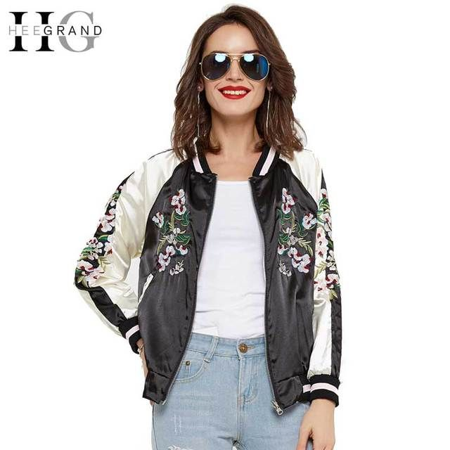 HEE GRAND 2017 Spring Jacket Women Fashion Embroidery Basic Short Coat Casacos Mulher Bomber Outerwears Jaqueta Feminina WWJ789