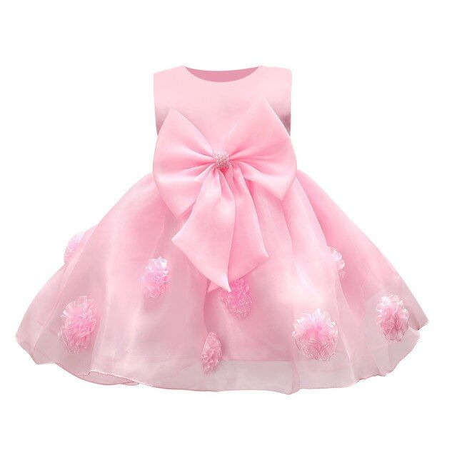 DQ0231 new white flower lace girls dresses with bow princess tutu dress for the evening 1 year girl tulle dress fille vestido