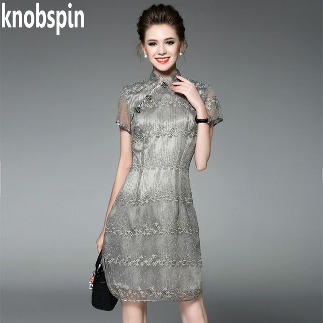 Knobspin Luxury brand women clothes 2017 Summer Beading Embroidery Slim dress White/Silver color Solid thin Vestidos plus size