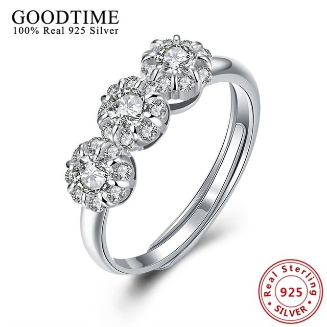 Pure 925 Sterling Flower Ring Silver 925 Jewelry Romantic Wedding Rings for Women Girls Zirconia anillos Party Jewellery GT047