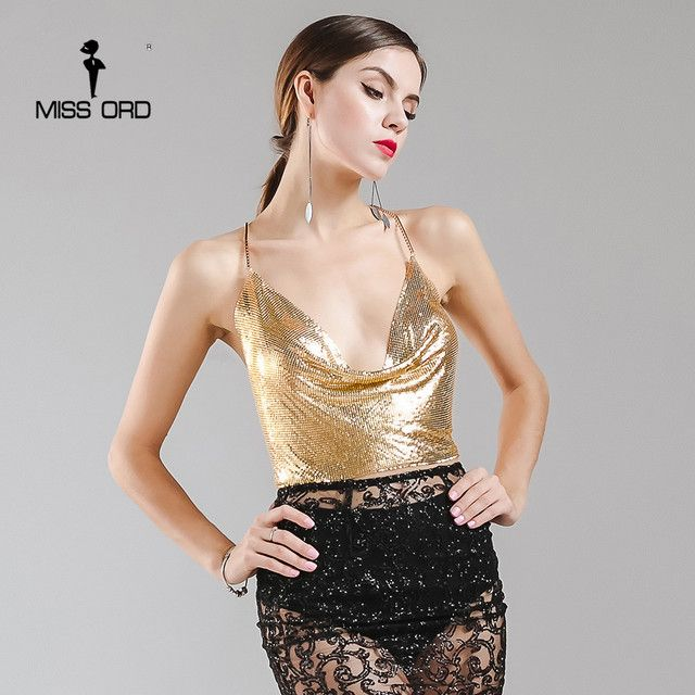 Missord 2017 Sexy V-neck Halter Metal Material Top Gold  FT9828