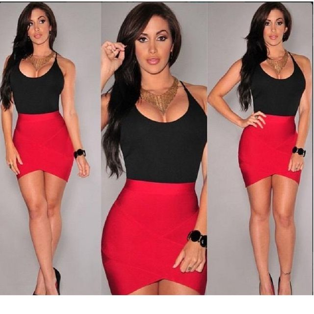 New Brand European Women Clothing black and red Dress sexy low o neck sleeveless sexy party strap summer dress vestidos de festa