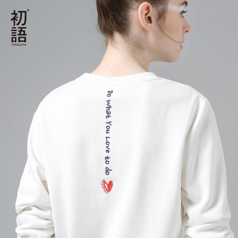 Toyouth White Sweatshirts Hoodie Women 2019 Letter Embroidery Long Sleeve Tracksuit Female Casual Basic Pullovers Tops