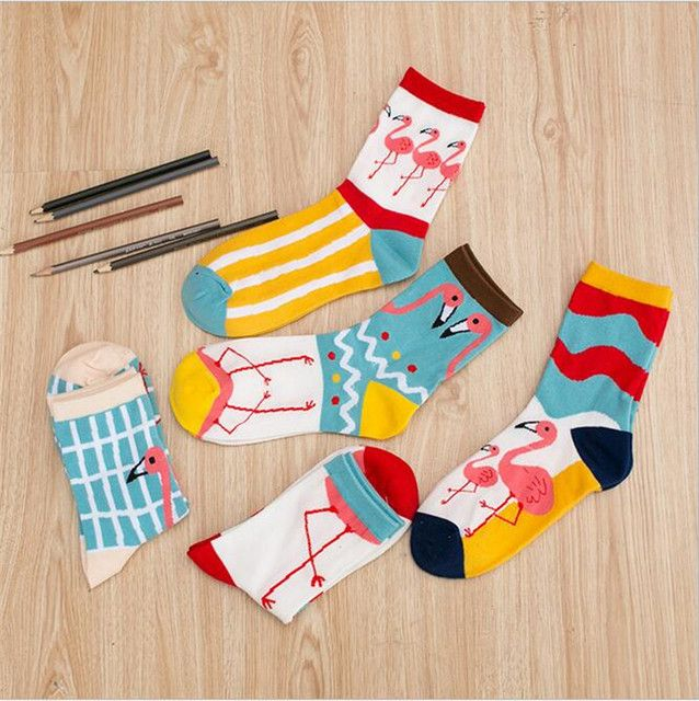 5 styles cute colorful flamingo cotton women striped plaid crew socks, girls harajuku casual funny cute kawaii  Novelty Winter