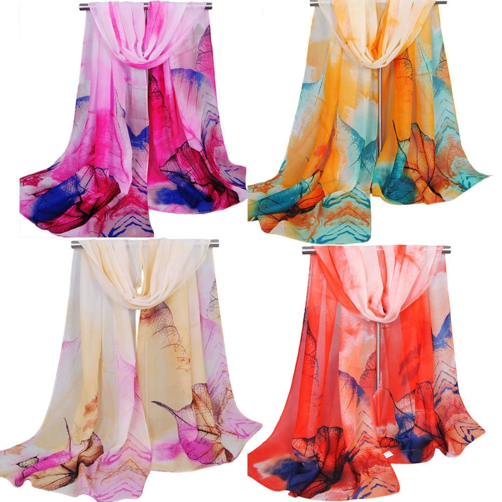 Women's  Large Long Autumn Winter Chiffon Scarves Gradient Color Leaves Print Scarf Wrap Shawl Soft Stole Wrap Scarves Bufanda
