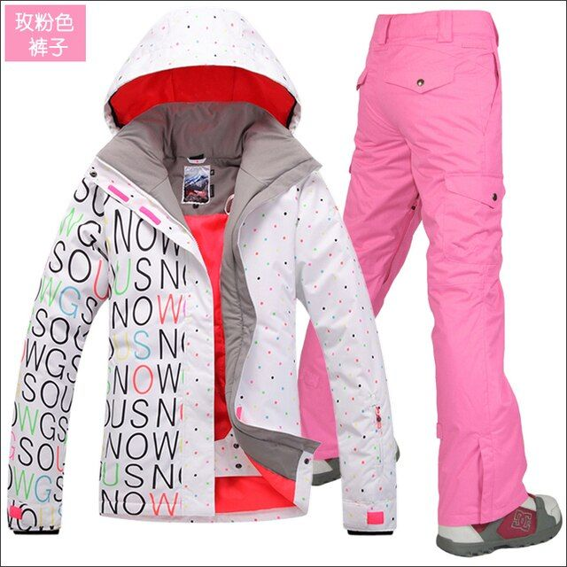 Gsou Snow Women's ski jackets and ski pants sets Snowboard ski clothing Outdoor sports waterproof thermal warm snow clothes