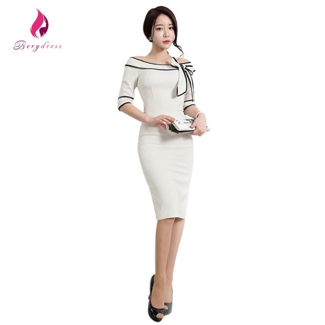 2017 Elegant Women Business Slash neck Knee Length With Cute Bow Bodycon Pencil Dress Charming Office Ladies Wear To Work