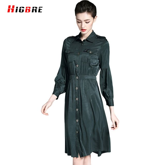 Women Luxury Dress Designers High Quality 2017 Spring Elegant Dress Plus Size Knee Length Autumn Female Clothing Loose Casual