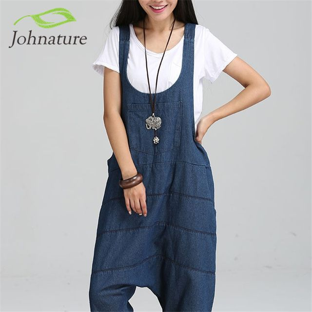 Johnature 2017 New Denim Jumpsuits Pocket Rompers Stripped Loose Women Fashion Casual Denim Overalls Harlan Jumpsuits