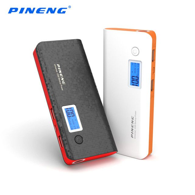 PINENG PN-968 10000mAh Mobile Power Bank Dual USB Charging External Battery Charger Portable Battery with Flashlight Power Bank