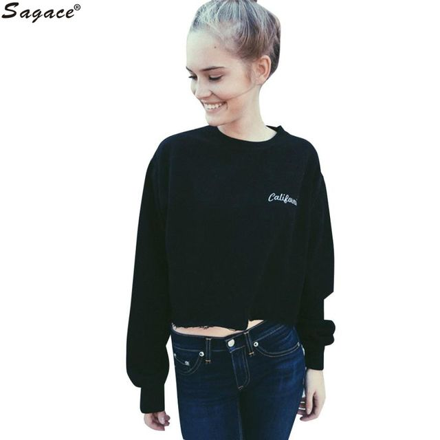 Hot New California Letter Embroidery Women Loose Exercise Pullovers Casual Long Sleeve Short Sweatshirts Girls Hoodies Aug31