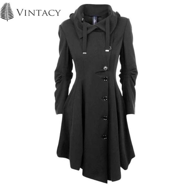 Vintacy 2017 Clearance vintage women coats black trench coat buttons autumn trenchtrench women coats office outwear