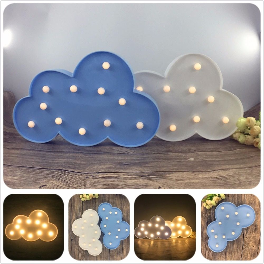 11 LED White Cloud Letter light For Christmas Decoration Kid's Gift Light Up 3D Marquee Night  Lamp Battery operated