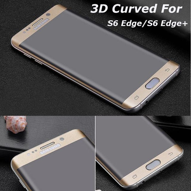 3D Curved Full Cover Tempered Glass Screen Protector for Samsung Galaxy S6 Edge S6 Edge Plus Phone Cases Color Protective Film