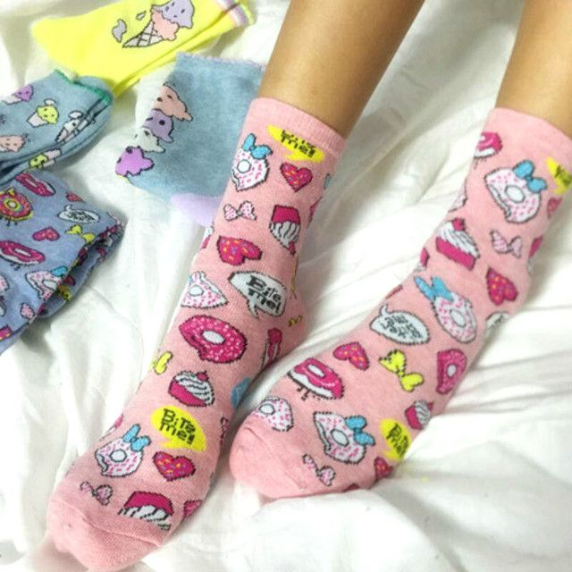 Colorful Women/girls Donut Pattern Crew Cotton Socks, Cute Funny Novelty Harajuku Ankle Sox Korean Winter Ice Cream Pink Yellow