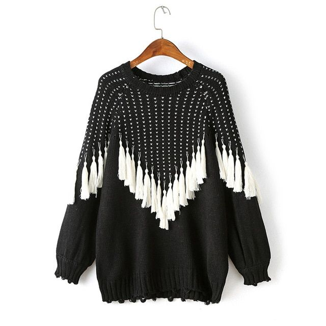 [TWOTWINSTYLE] 2017 Autumn Winter Tassels Black Hit White Pullover Knitted Hoodies Sweatshirt Women New Clothing Fashion