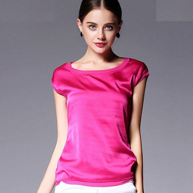 Women Blouses Tops European Style Fashion Short-Sleeved Casual Candy Color Chiffon Silk  Shirt Wild Plus Size Summer Clothing