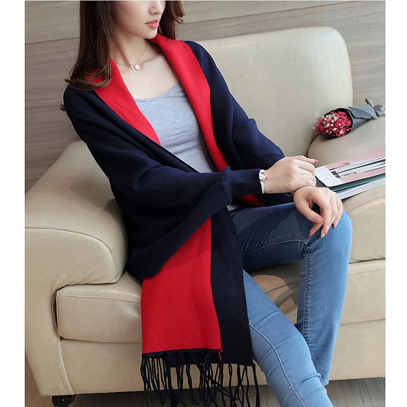 2019 New Autumn Winter women long cardigans sweaters Elegant Tassel warm knitted poncho cardigan pull femme sweaters coat femme