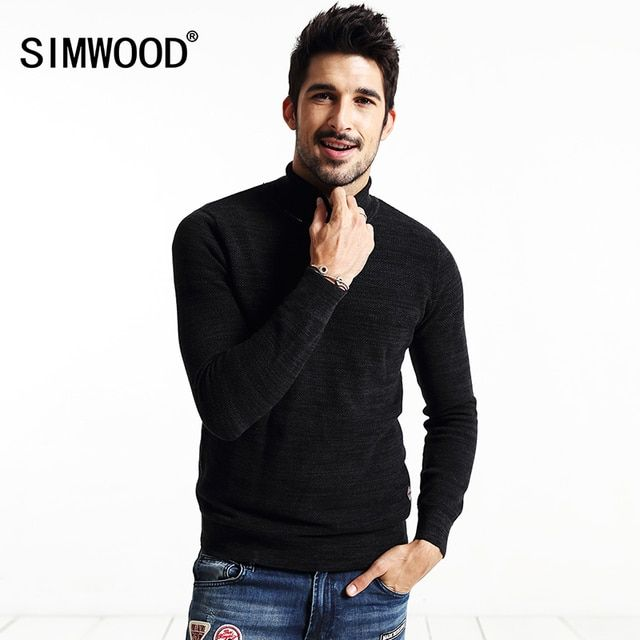 SIMWOOD Brand new autumn winter Turtleneck sweater men  casual pullovers  fashion knitwear  MY2033