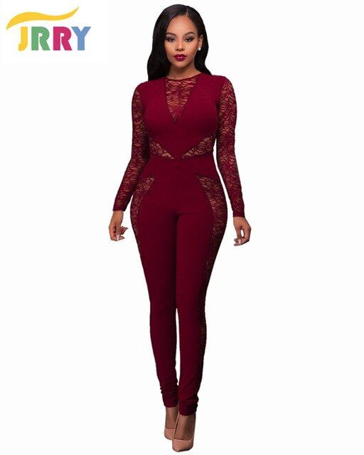 JRRY Long Sleeve Hollow Out Patchwork Bodycon Women Jumpsuit Zippers Turtleneck Top Long Pants See Through Ladies Romper