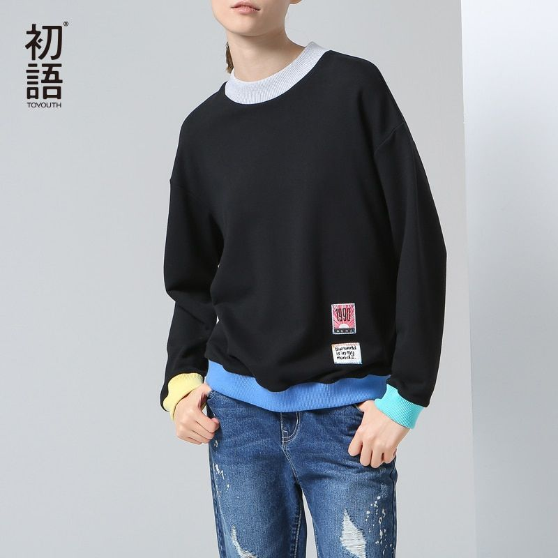 Toyouth New Arrival Women Cotton Pullovers Sweatshirts Autumn Patchwork Strapless Loose O-Neck Sweatshirts