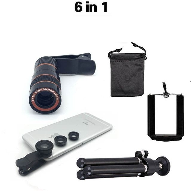 Univesal New 6in1 8X Zoom Phone Camera Lens Telescope Stand Holder Mobile Phone Holders 3in1 lens Fisheye Lens Wide Lens Macro