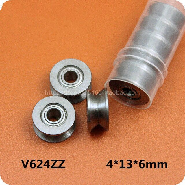 10Pcs 624zz 4mm High-carbon Steel V-Groove Pulley Sealed Ball Bearings Wire Guide Pulley Wheels Roller Hot Low Price
