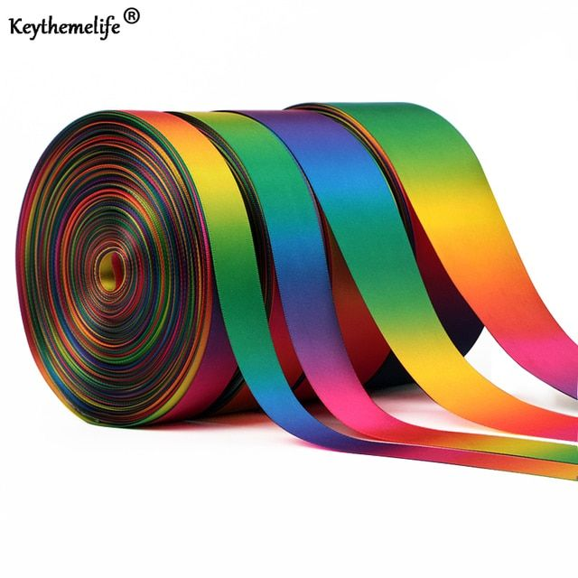 Keythemelife 50Yards/roll Satin Ribbon Double-sided Rainbow ribbons Gift Wrapping Christmas/New Year/Party Decor Supplies D