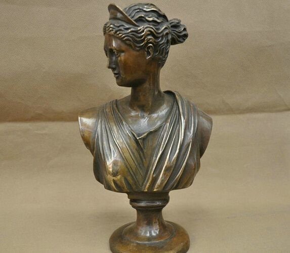 12'' China Elegant Woman Lady Rome Greece Bust BRASS Statue wholesale BRASS Arts outlets
