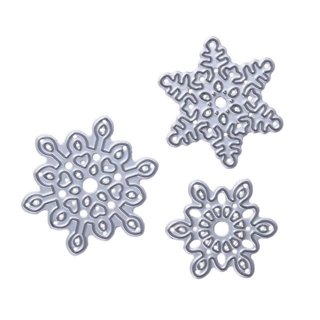 3pc/set Snowflake Cutting Dies Carbon Steel Metal Die For DIY Scrapbooking Album Festival Decorative Home Christmas Craft