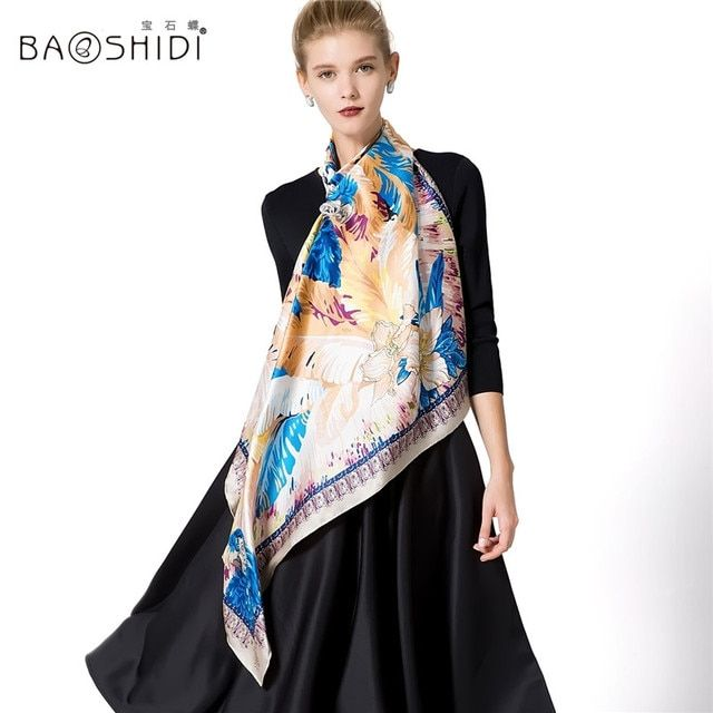 [BAOSHIDI]12m/m thick Luxury Brand Scarf Women,100% Silk Square Pattern Scarves,Neck Shawl Wrap,bandana,hand printed and rolled