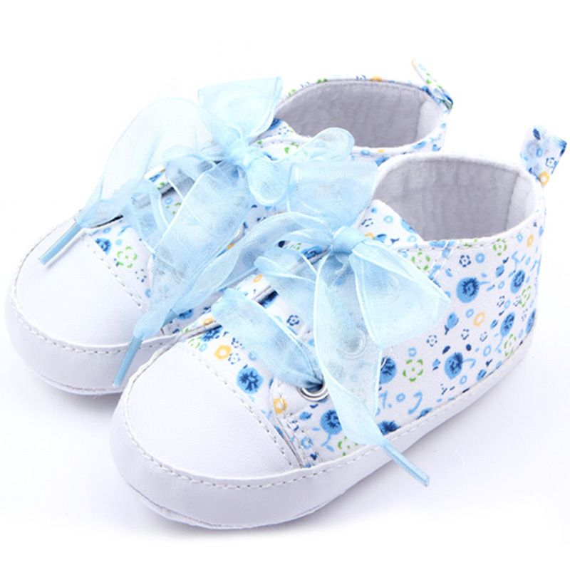 Baby Girl Shoes Toddler Lace-up Floral Infant Soft Sole First Walker