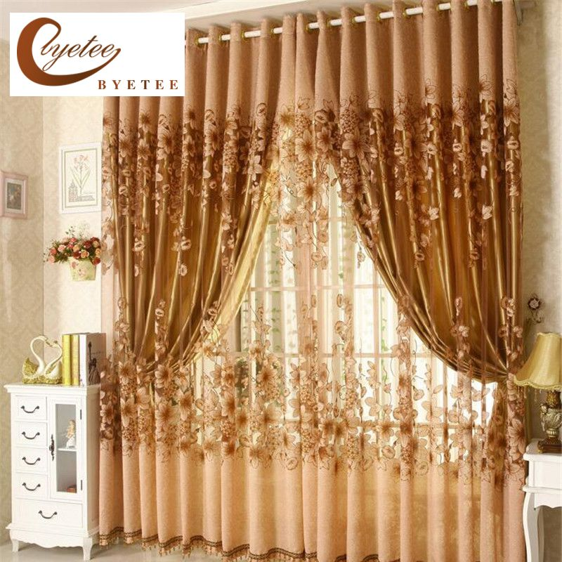 {byetee} Luxury Window Living Room Tulle Window Curtains Kitchen Window Curtains Door Finished European Sheer Curtains