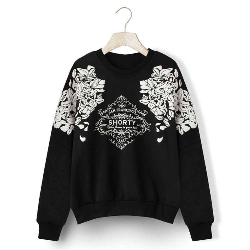 2018 Harajuku Hoodies Long Sleeve Loose Print Graphic Floral Sweatshirt  Hoody Warm Women Casual Clothes B918