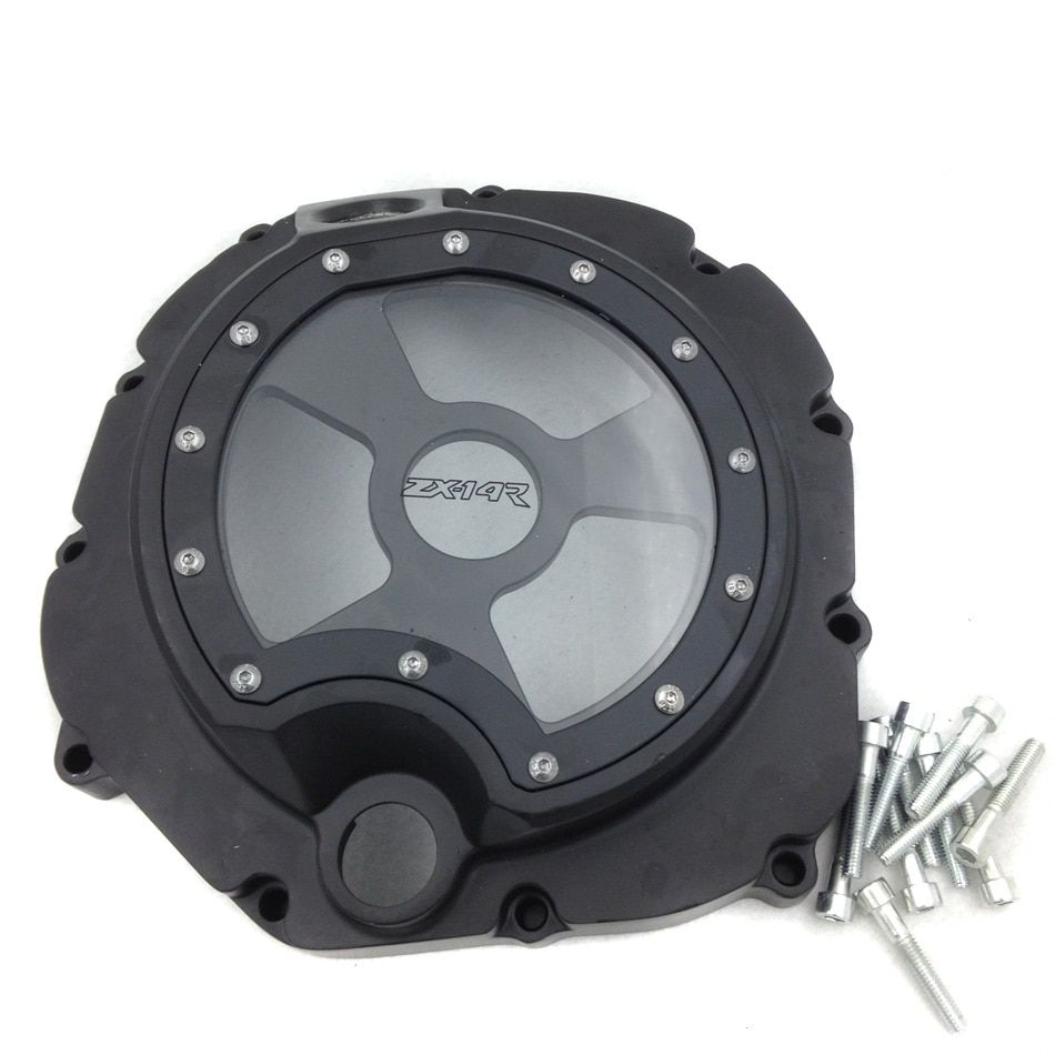 For Motorcycle Kawasaki ZX14R ZZR1400 2006-2013 BLACK right   Engine Clutch cover see through
